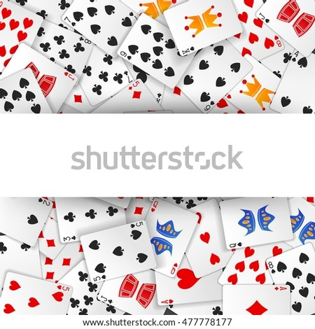 Poker card scattered with sign background
