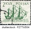 POLAND - CIRCA 1963: A post stamp printed in Poland  shows Ship of the line,18th century, circa 1963 - stock photo