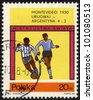POLAND - CIRCA 1966: a stamp printed by POLAND shows football players.World football cup in Montevideo 1930, series, circa 1966 - stock photo