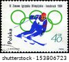 POLAND - CIRCA 1964: A stamp printed in Poland shows skiing, series Olympic Winter games held at Innsbruck, circa 1964  - stock photo