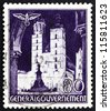 POLAND - CIRCA 1940: A stamp printed in the Poland under German Occupation shows St. Mary's Church, Krakow, circa 1940 - stock photo