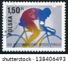 POLAND - CIRCA 1977: stamp printed by Poland, shows Bicyclist, circa 1977 - stock photo
