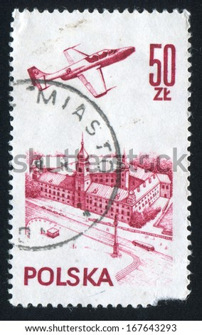 POLAND - CIRCA 1976: stamp printed by Poland, shows Plane over Warsaw Castle, circa 1976