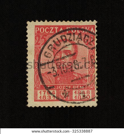 Poland - CIRCA 1928: stamp printed by Poland shows Zacharias jozef BEM, Polish General, Marshal of the Turkish army, commander of troops of the Hungarian revolution, circa 1928