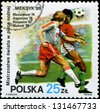 POLAND - CIRCA 1986: 1986 World Cup Soccer Championships, Mexico, circa 1986. - stock photo