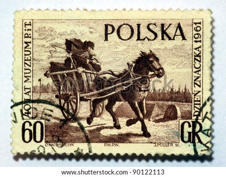 Poland - CIRCE 1961: A stamps printed in Poland shows mail carrier    in buggy with horse circa 1961