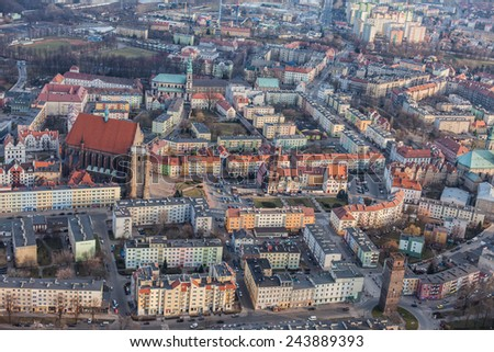POLAND, NYSA - FEBRUARY 25, 2014: Aerial view of NYSA CITY .