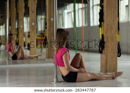 Panorama girl pole dance class stock photo 283448633 for Dance where you sit on the floor