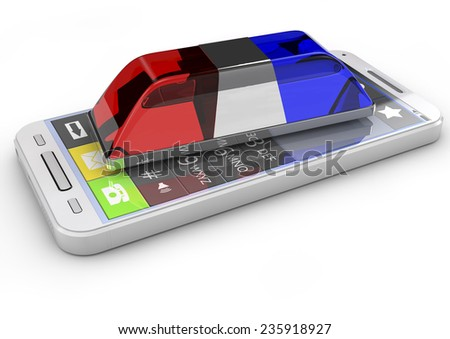 police or ambulance flasher and smarthphone isolated on white background. 3d render, metaphor emergency call
