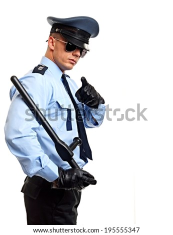 portrait young policeman uniform sunglasses stock photo  policeman shows on you right you can write some text