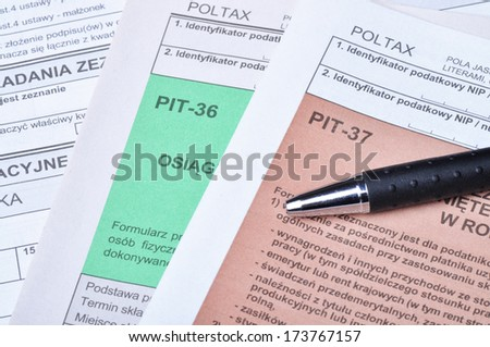 Polish tax forms, PIT-36 and PIT-37.