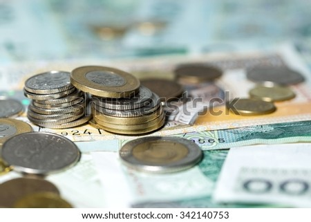 Polish zloty in notes and coins, photograph with depth of field.