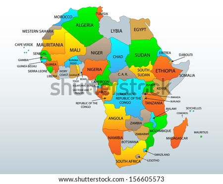 africa map with continents inside