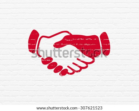Political concept: Handshake on wall background