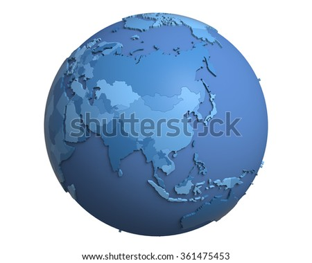Political globe with blue, extruded countries, centered on China