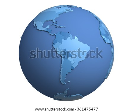 Political globe with blue, extruded countries, centered on South America