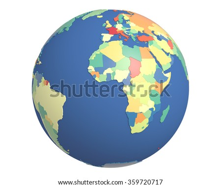 Political globe with colored, extruded countries, centered on Africa.