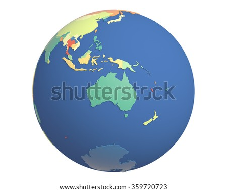 Political globe with colored, extruded countries, centered on Australia.