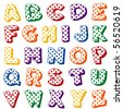 Polka Dot Alphabet.  Original letter design in vivid multicolor polka dots on a white background for scrapbooks, albums, crafts and back to school projects. - stock vector