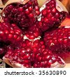 Pomegranate background for sale at a market for farm products, India - stock photo
