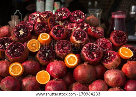 Pomegranate fruit  at the market in Istanbul