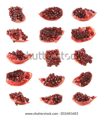 Pomegranate Punica granatum fruit's cluster fragment isolated over the white background, set of multiple different foreshortenings