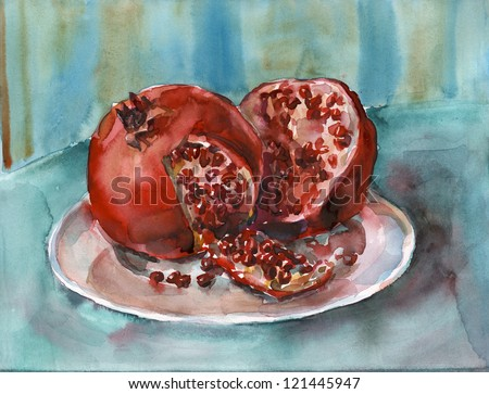 Pomegranates. Watercolor painting. Still life. Peeled pomegranates on a plate.