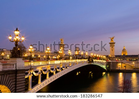 Pont Alexandre III in Paris at dusk
