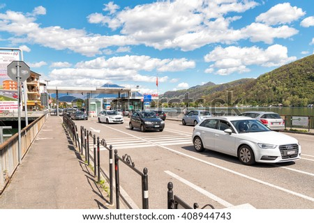 PONTE TRESA, ITALY - APRIL 16, 2016: Bridge with Border Checkpoint between Italy and Switzerland, where travelers or goods are inspected.