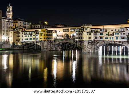 Ponte Vecchio - Firenze. Night view of one of the most famous bridges of the world.