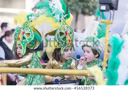 PONTEVEDRA, SPAIN - FEBRUARY 20, 2016: People dressed during the parade held in the city for the Winter Carnival.