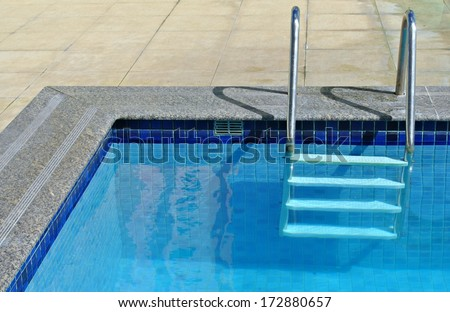 Poolside and ladder on a sunny day