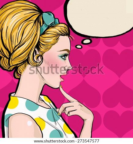 Pop Art Illustration Woman Speech Bubble Illustration – Girl Party Invitation