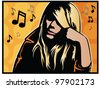 Pop Art Music Girl - stock photo