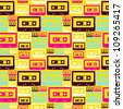 Pop audio cassette seamless pattern. - stock photo