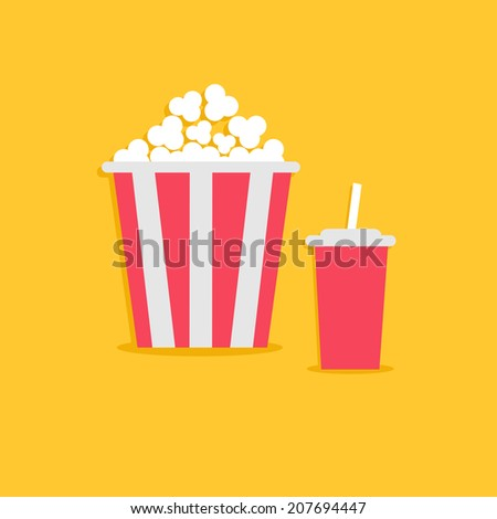Popcorn and soda with straw. Cinema icon in flat design style.
