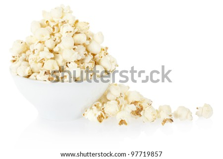 Popcorn bowl isolated on white, clipping path included