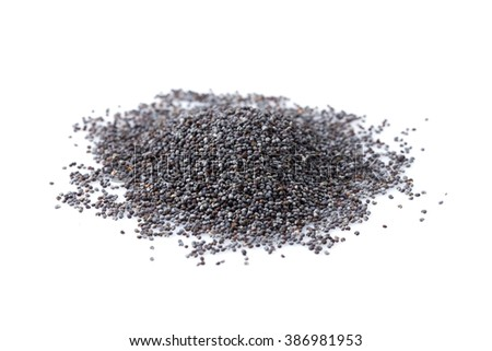 Poppy seeds heap close up isolated on white background