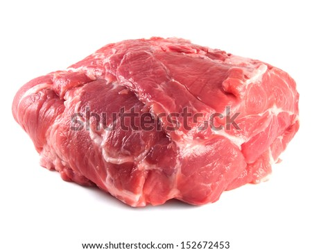 Pork neck carbonade. Fresh raw pork meat. Isolated on white background.
