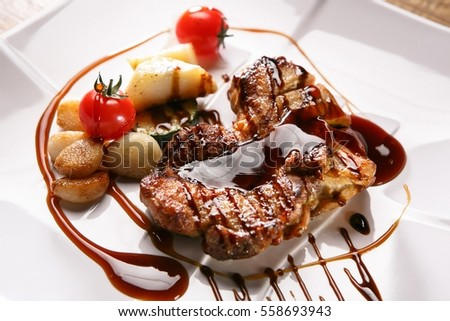 pork steak on plate