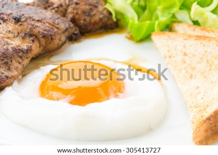 pork steak on white plate