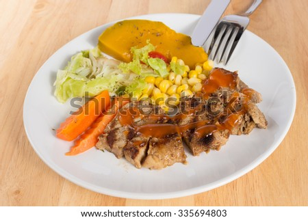 Pork steak on wood table
