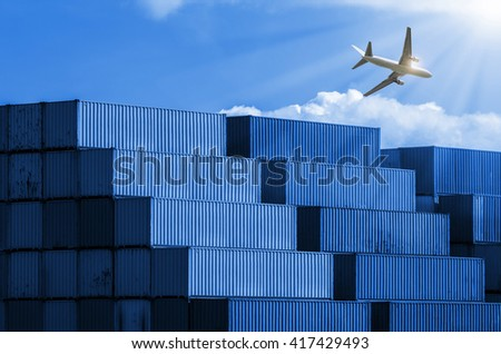 Port container shipping industry with many colorful,blue toned images.