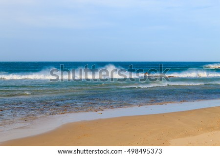 Port Elizabeth beach view, South Africa panorama. Indian ocean landscape. Waves and windsurf