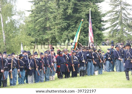 PORT GAMBLE, WA - JUNE 20 : Union infantry column waits for action before a mock Civil War battle on June 20, 2009 in Port Gamble, WA.