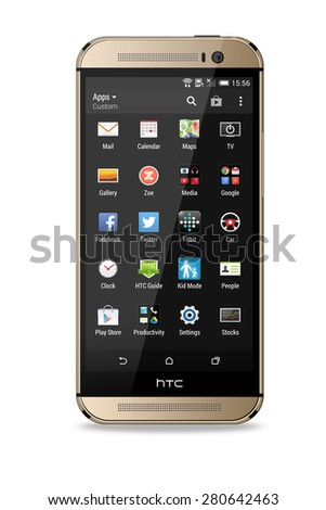 Port-Louis, Mauritius - May 18, 2015 Htc One m8 with customizing apps open on screen. HTC is a Taiwanese multinational manufacturer of smartphones and tablets.
