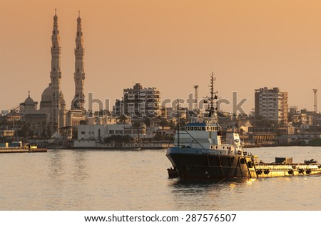 PORT SAID/EGYPT 02nd JANUARY 2007 - The Offshore Supply Ship OSA Viscount passing north in the Suez Canal at sunset