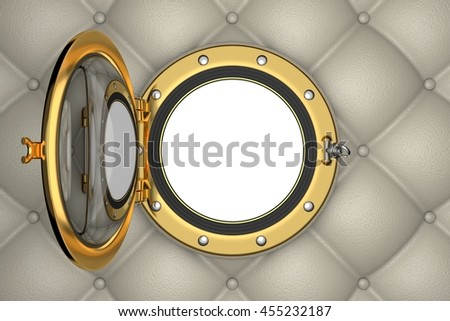 Porthole or window of the luxurious yacht, 3D illustration