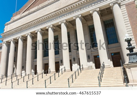 portico and stairs of entrance to landmark auditorium at university of minnesota