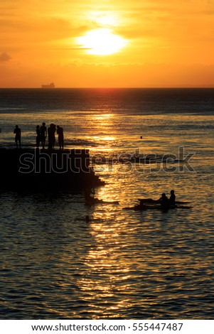 Porto da Barra Pier Summer Sunset with people's silhouette